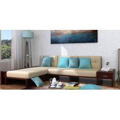 Cortez L-Shaped Wooden Sofa (Mahogany Finish)