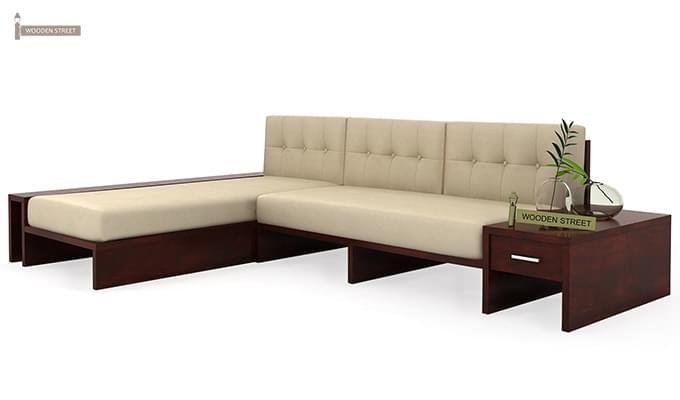 Cortez L Shaped Wooden Sofa Mahogany Finish 3