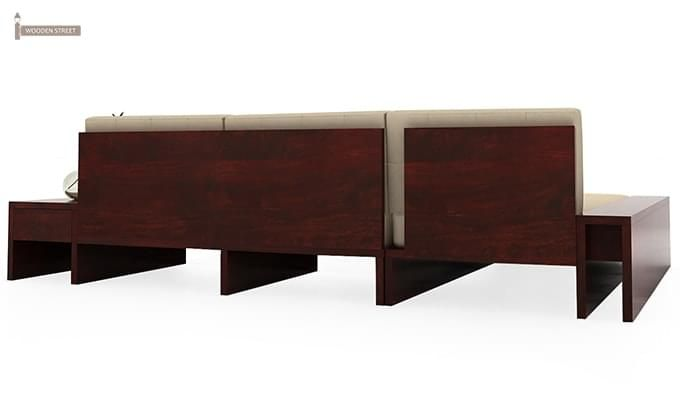 Cortez L-Shaped Wooden Sofa (Mahogany Finish)-4
