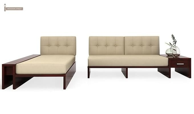 Cortez L-Shaped Wooden Sofa (Mahogany Finish)-5