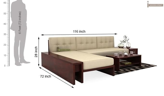 Cortez L-Shaped Wooden Sofa (Mahogany Finish)-7