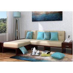 Cortez L-Shaped Wooden Sofa (Mahogany Finish)