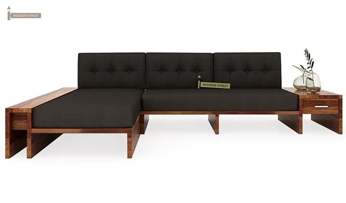 Cortez L-Shaped Wooden Sofa (Teak Finish)-2