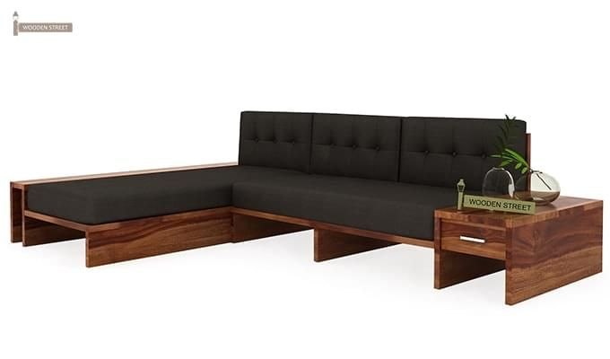 Cortez L-Shaped Wooden Sofa (Teak Finish)-3