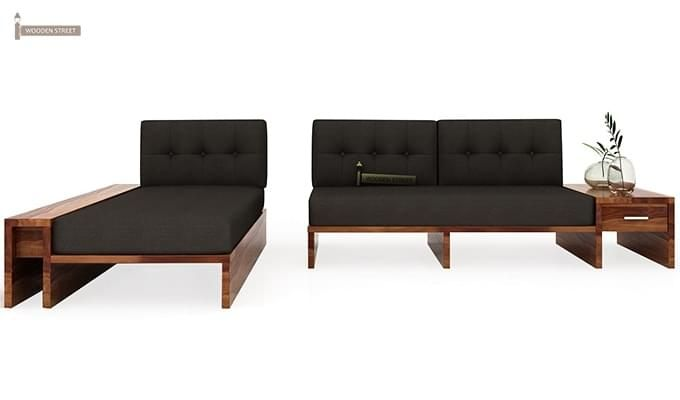 Cortez L-Shaped Wooden Sofa (Teak Finish)-4