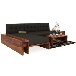 Cortez L-Shaped Wooden Sofa (Teak Finish)