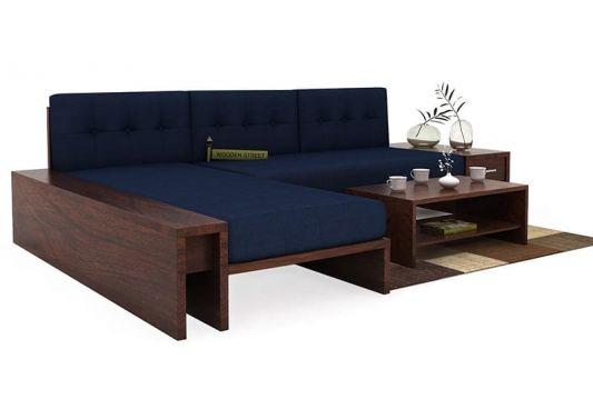 Cortez L-Shaped Wooden Sofas Blue Online