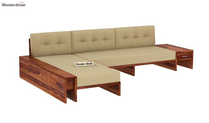 Cortez L-Shaped Wooden Sofa (Honey Finish)-2