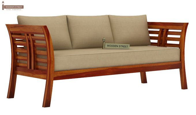 ... Darwin 3 Seater Wooden Sofa (Honey Finish) 1 ...