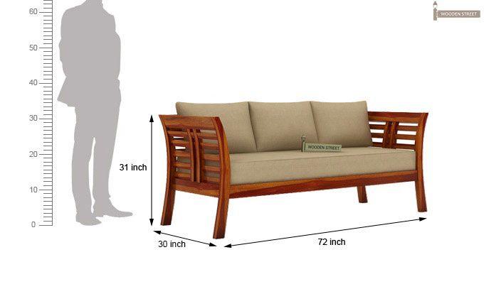 Darwin 3 Seater Wooden Sofa (Honey Finish)-3