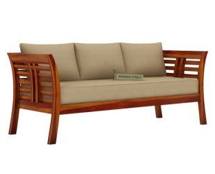 Darwin 3 Seater Wooden Sofa (Honey Finish)