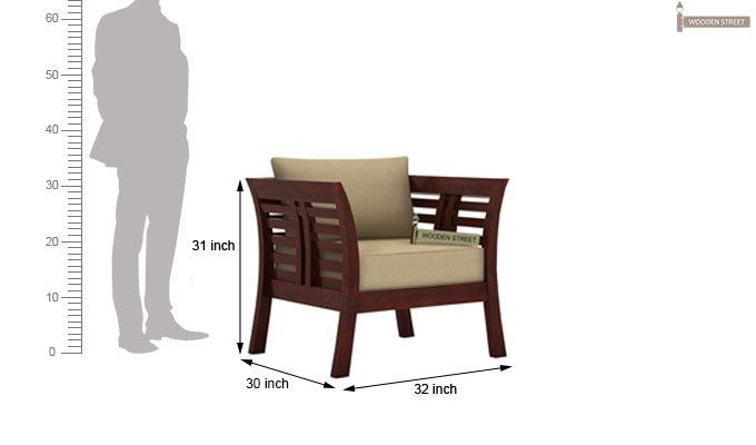 Darwin Wooden Sofa 1+1 Sets (Mahogany Finish)-4