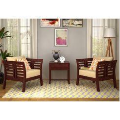 Darwin Wooden Sofa 1+1 Sets (Mahogany Finish)