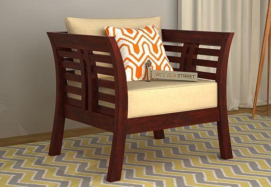 Darwin 1 Seater Wooden Sofa (Mahogany Finish)