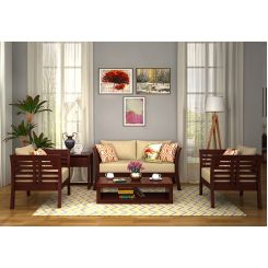 Darwin Wooden Sofa 2+1+1 Sets (Mahogany Finish)