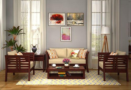 Darwin Wooden Sofa 2+1+1 Sets (Mahogany Finish)