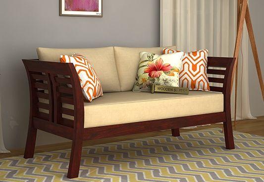 Darwin 2 Seater Wooden Sofa (Mahogany Finish)