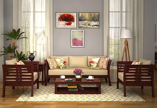 Darwin Wooden Sofa 3+1+1 Sets (Mahogany Finish)