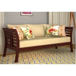 Darwin 3 Seater Wooden Sofa (Mahogany Finish)