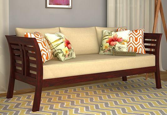 Darwin 3 Seater Wooden Sofa (Mahogany Finish)