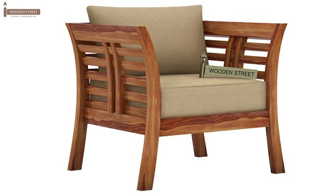 Darwin 1 Seater Wooden Sofa (Teak Finish)-1
