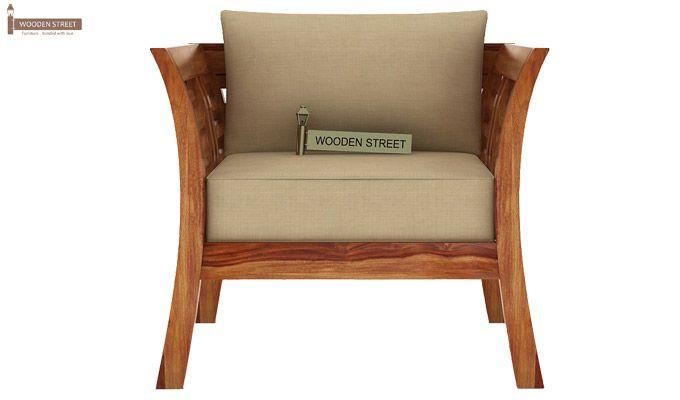 Darwin 1 Seater Wooden Sofa (Teak Finish)-2