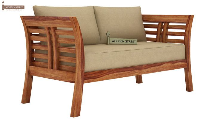Darwin 2 Seater Wooden Sofa (Teak Finish)-2