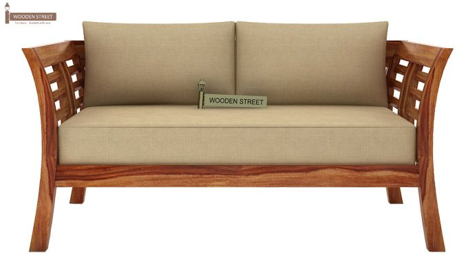 Darwin 2 Seater Wooden Sofa (Teak Finish)-1