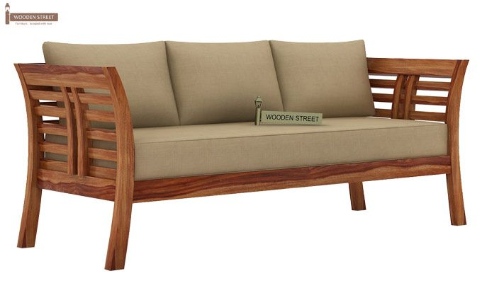 Darwin 3 Seater Wooden Sofa (Teak Finish)-1