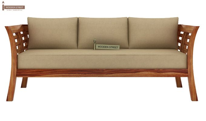 Darwin 3 Seater Wooden Sofa (Teak Finish)-2