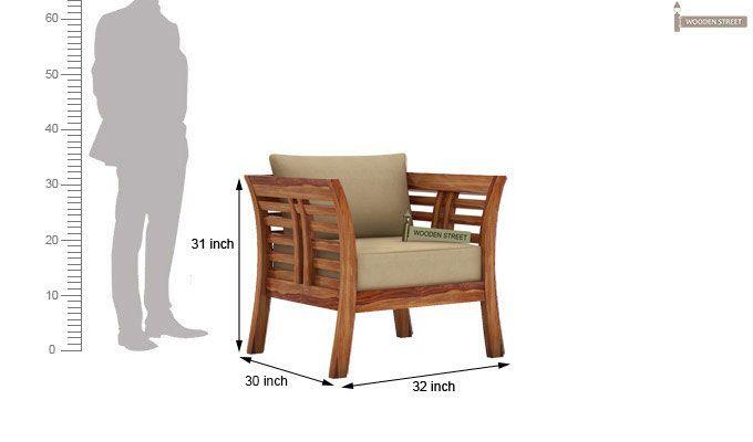 Darwin 1 Seater Wooden Sofa (Teak Finish)-3