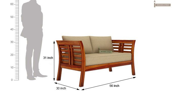 Darwin 2 Seater Wooden Sofa (Teak Finish)-3