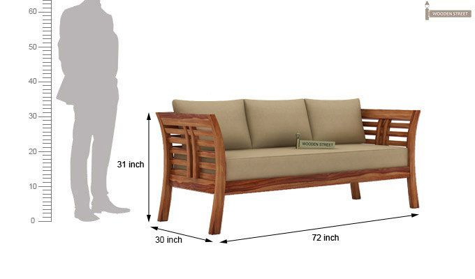 Darwin 3 Seater Wooden Sofa (Teak Finish)-3