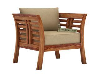 Darwin 1 Seater Wooden Sofa (Teak Finish)