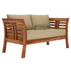 Darwin 2 Seater Wooden Sofa (Teak Finish)