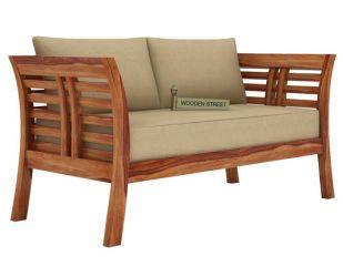 Darwin 2 Seater Wooden Sofa (Teak Finish)