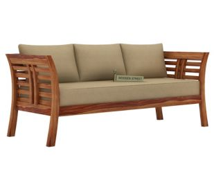 Darwin 3 Seater Wooden Sofa (Teak Finish)