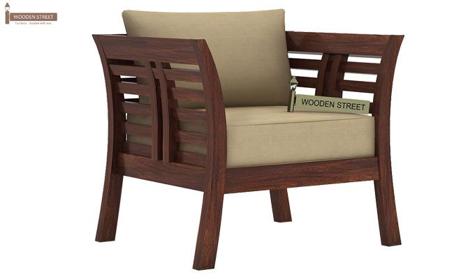 Darwin 1 Seater Wooden Sofa (Walnut Finish)-1