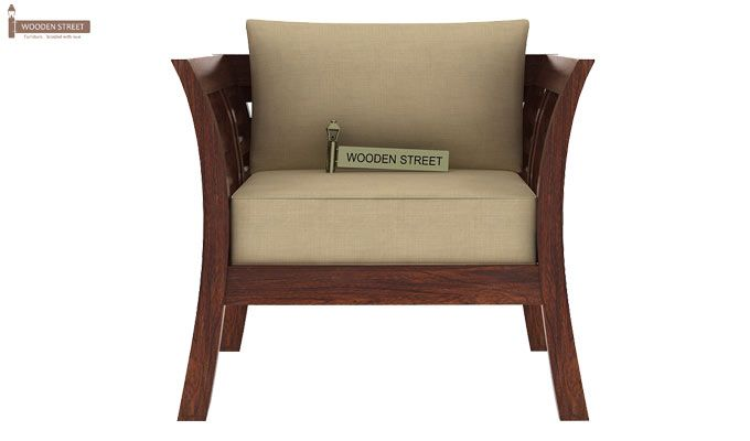 Darwin 1 Seater Wooden Sofa (Walnut Finish)-2