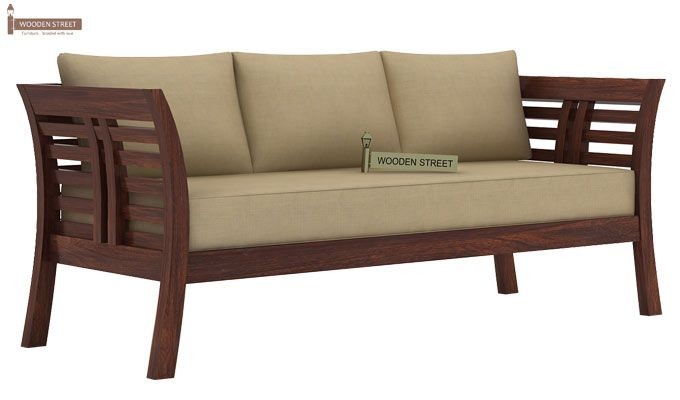 Darwin 3 Seater Wooden Sofa (Walnut Finish)-1