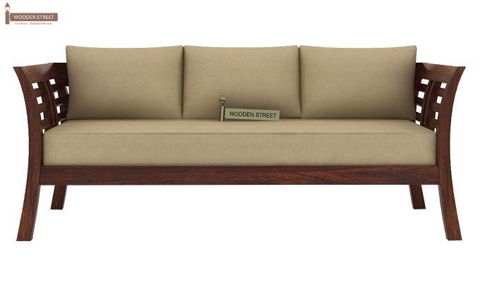 Darwin 3 Seater Wooden Sofa (Walnut Finish)-2