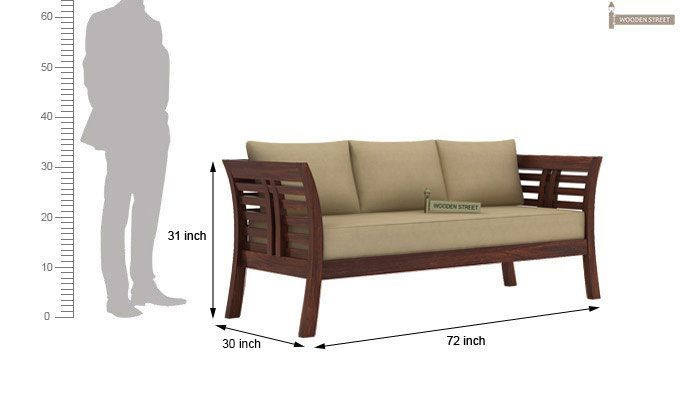 Darwin 3 Seater Wooden Sofa (Walnut Finish)-3