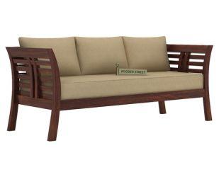 Darwin 3 Seater Wooden Sofa (Walnut Finish)
