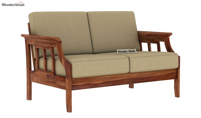 Elora 2 Seater Wooden Sofa (Teak Finish)-2