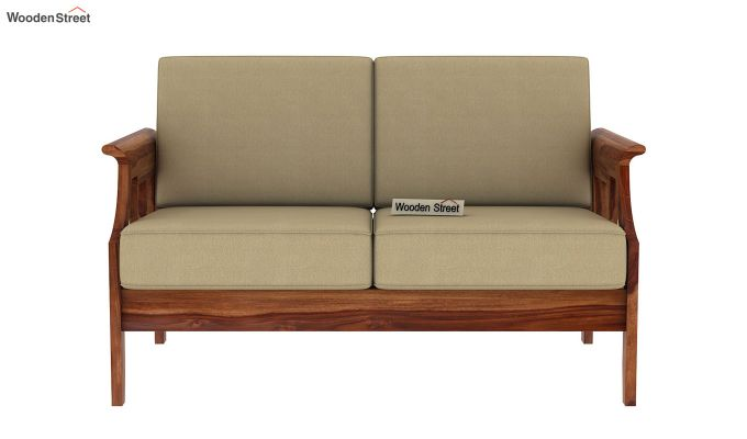 Elora 2 Seater Wooden Sofa (Teak Finish)-3