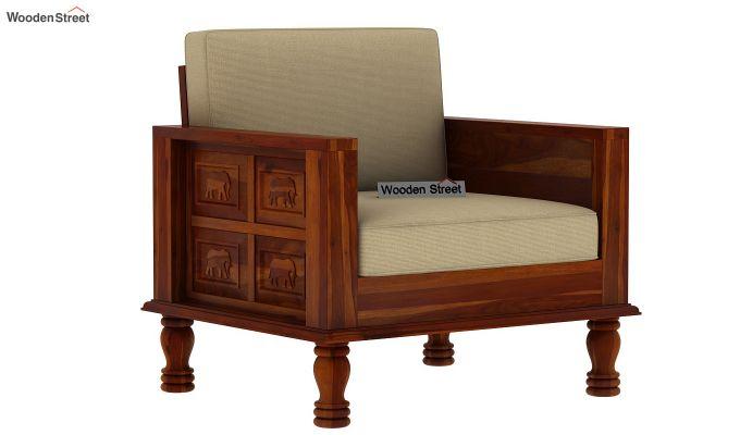 Emboss Wooden Sofa 3+1+1 Set (Honey Finish)-4