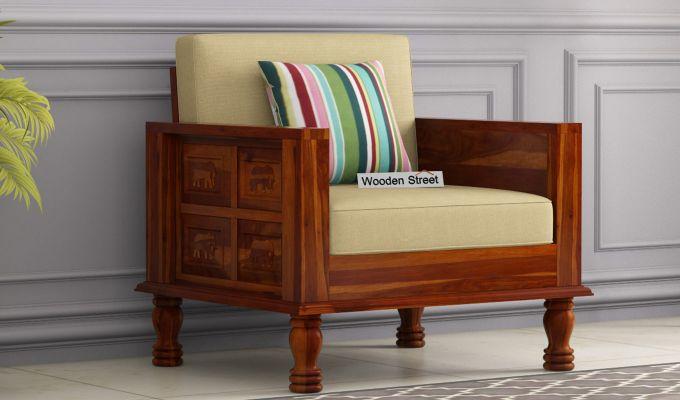 Emboss Wooden Sofa 3+1+1 Set (Honey Finish)-2