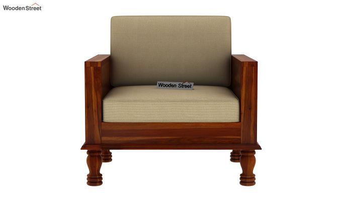 Emboss Wooden Sofa 3+1+1 Set (Honey Finish)-5