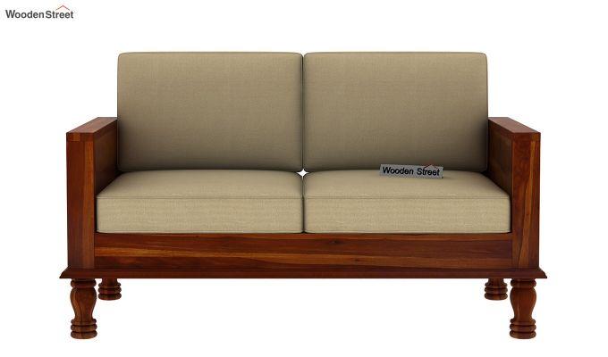 Emboss 2 Seater Wooden Sofa (Honey Finish)-3