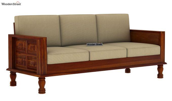 Emboss 3 Seater Wooden Sofa (Honey Finish)-2